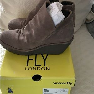 Fly London taupe suede booties Euro size 39